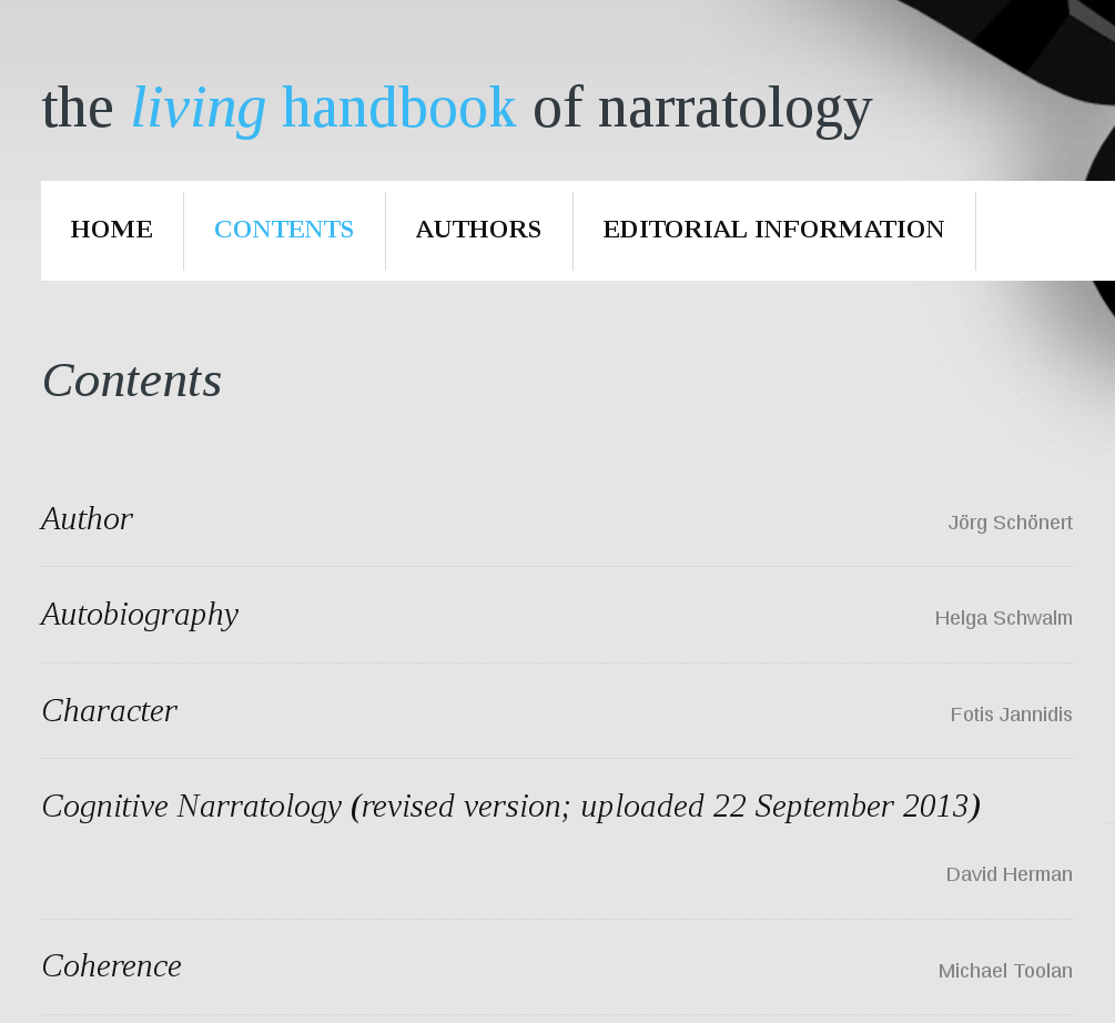 The Living Handbook of Narratology (2009–)
